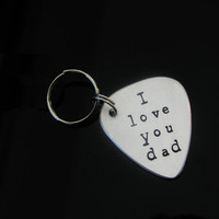 Fathers Day Personalized Guitar Pick KEYCHAIN Gift for Dad Grandpa Uncle Likes To Rock Gift for Man Aluminum OR Copper Custom Hand Stamped