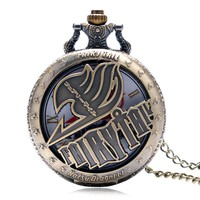 Vintage Pocket Watches Animate Fairy Tail Pattern Hollow Natus Dragneel Design Vintage Quartz Fob Watch With Necklace Chain