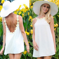 Summer Casual Loose Sexy Charming Sleeveless Patchwork O Neck Mini Sundress Dress White