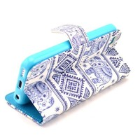 MaxMall Aztec Tribal Elephant Design PU Leather Wallet Case for Apple iphone 5C