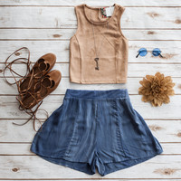 Blue Flowy Hippie Chic Shorts