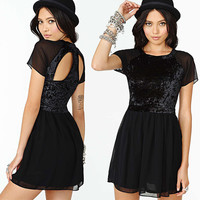 Black Mesh Short Sleeves Cutout Back  Chiffon Mini Dress