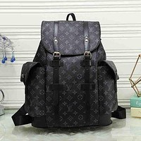 LV Louis Vuitton Popular Women Print Leather Bookbag Shoulder Bag Handbag Backpack Black I
