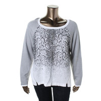 Kenneth Cole New York Womens Liliana Metallic Knit Pullover Sweater