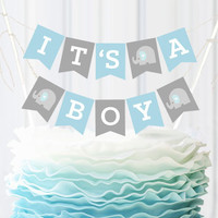 It's A Boy Baby Shower Bunting Cake Topper