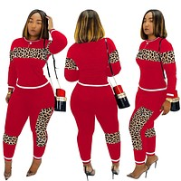 2020 Red Leopard Camouflage Two Pieces Set Women's Sports Suit Long Sleeve Sweatshirt and Sweatpants Casual Tracksuit Jogging Femme