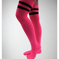 Hot Pink with Black Athletic Stripe Over the Knee Socks - Spencer's