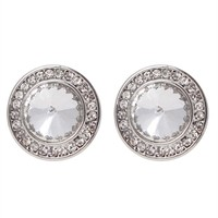 Large Stone Stud Earrings with Smaller Surrounding Stones