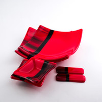 Red and Black Sushi Set, Asian Dinnerware, Fused Glass, Square Plates, Dipping Bowls, Japanese Chopsticks, 3rd Anniversary Gift for Couples