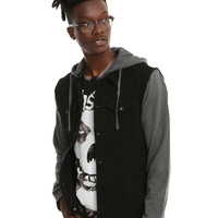 XXX RUDE Black Denim Grey Fleece Hooded Jacket