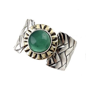 Green Onyx Two Tone Sterling Silver Woven Band Ring