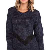 Faith Connexion Fancy Mohair Knit Sweater in Navy