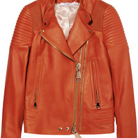 Givenchy - Biker jacket with ribbed panels in brick leather