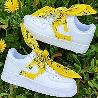 Nike Air Force1 AF1 silk scarf retro cashew nut headband square scarf Bandana bow yellow