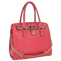 MG Collection Haley Classic Gold Studded Structured Satchel Purse Style Top Handle Bag, Coral, One Size