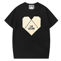 Moschino New Fashion Embroidery Letter Love Heart Women Men Top T-Shirt Black
