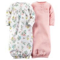 Carter's 2-pk. Floral & Striped Sleeper Gowns - Baby Girl, Size: