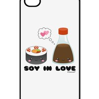 Cute Sushi and Soy Sauce - Soy In Love iPhone 4 / 4S Case  by TooLoud