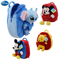 Disney Origina Backpack Schoolbag Winnie The Pooh Mickey Mouse Minnie Doll Lilo and Stitch 27cm Cute Girl Children Boy Schoolbag