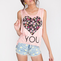 Heart You Floral Top - Peach