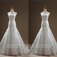 Beads Lace Applique Strapless Empired Long Celebrity Wedding Dress , Floor Length Formal Evening Party Prom Dress New Homecoming Dress
