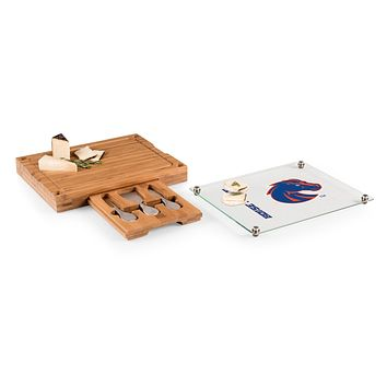 Boise State Broncos - Concerto Glass Top Cheese Cutting Board & Tools Set, (Bamboo)