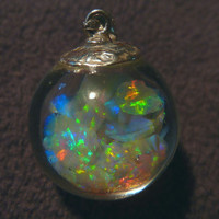 Floating Opals Pendant Murano Glass 6 Carats 100% Coober Pedy Crystal Opal.925 Sterling Silver Bail
