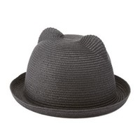 Black Cat Ear Straw Bowler Hat by Charlotte Russe