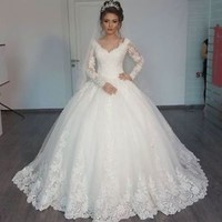 Long Sleeves Winter Wedding Dresses with Sequined Lace Ivory Bridal Dresses