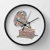 SEEING SOUND Wall Clock by Bianca Green