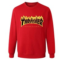 Thrasher Autumn and winter sweater male sportswear Red+(Black Letters)