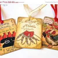 Twelve Days Of Christmas Gift Tags Vintage Inspired Set Of 12 Different Images