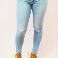 old school mid rise jeans - light wash