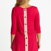 Fuchsia Lace Button Back 3/4 Sleeve Maternity Top
