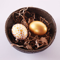 Festive Eggs, Set of 2 - Ceramic - Hand-painted in White and Gold- Decorative Egg - Home Decor