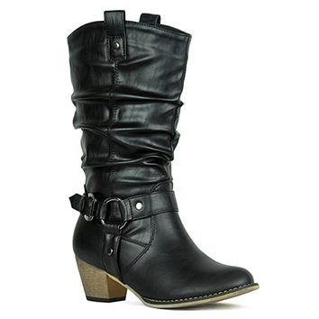 Kickin' it in Style-Black Western Style Ankle Boots