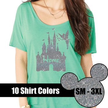 GLITTER Disney Is My Home Magic Kingdom Scoop Off Shoulder // Disneyland Shirt // Disney Vacation / Disney Family (88-B11-16) Silver Glitter