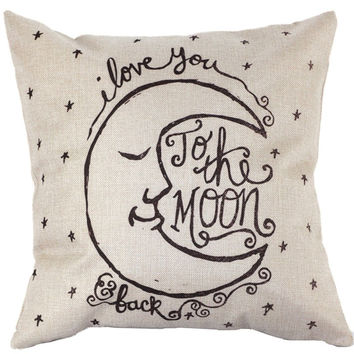 Vintage Cover I Love You to the Moon and Back Square Throw Pillow Case