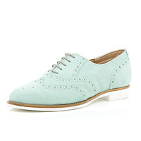 River Island Womens Green suede lace up brogues