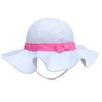 Children'S Outdoor Sun Beach Hat With Bow For Baby Girls-White