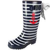 Nautical Navy Stripe Rain Boots with White Lace Bow