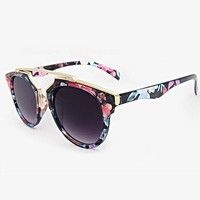 Floral Sunglasses | Gold Brow Bar Sunglasses