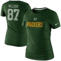 Nike Jordy Nelson Green Bay Packers Ladies Player Name and Number T-Shirt - Green