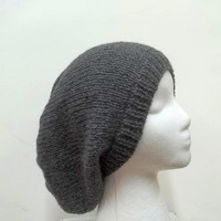 Oversized beanie dark gray hat knitted men or women large size 5117