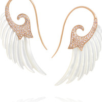 Noor Fares - Wing 18-karat rose gold, mother of pearl and diamond earrings