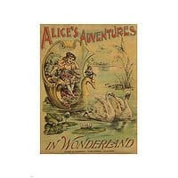 Alice's ADVENTURES IN WONDERLAND vintage poster 24X36 FANTASY swans childhood