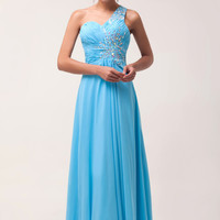 Sky Blue One Shoulder Beaded Ruffled Maxi Dress
