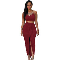 Red Cotton Two Piece Maxi Skirt Set LAVELIQ