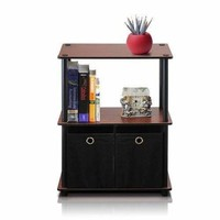 3-Tier Black Storage Rack Shelving Unit With Bins