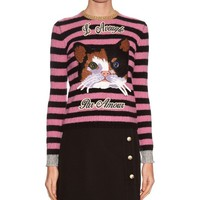 Indie Designs Gucci Inspired Cat Embroidered Cashmere and Wool-blend Sweater